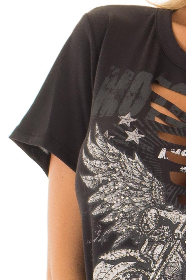 Black Ripped Graphic Tee with Gem Detail detail