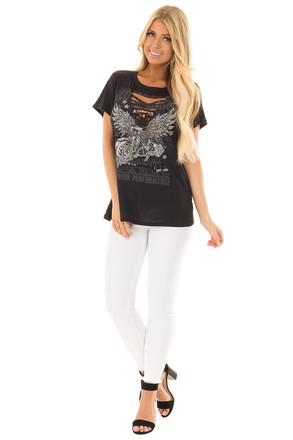 Black Ripped Graphic Tee with Gem Detail front full body