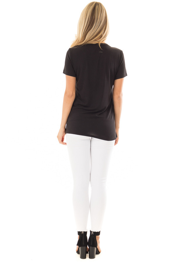 Black Ripped Graphic Tee with Gem Detail back full body
