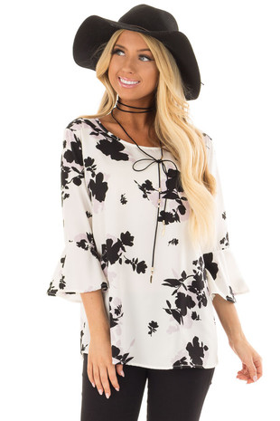 White Flower Print Blouse with 3/4 Bell Sleeves front close up