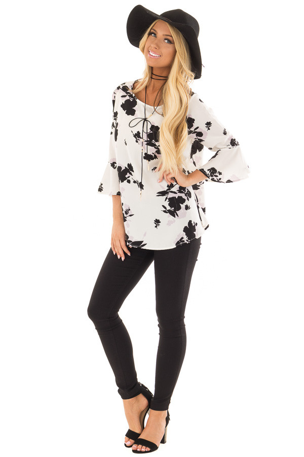 White Flower Print Blouse with 3/4 Bell Sleeves front full body