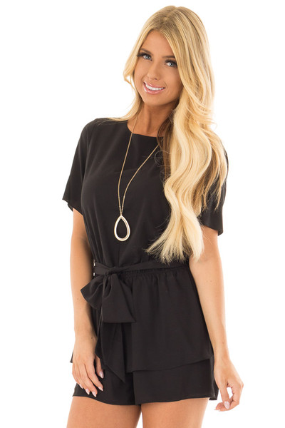 Black Double Layer Romper with Front Tie front close up