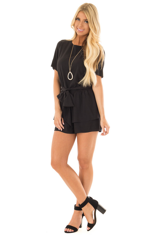 Black Double Layer Romper with Front Tie front full body