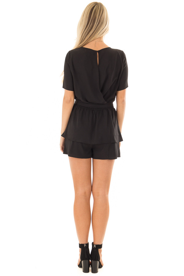 Black Double Layer Romper with Front Tie back full body