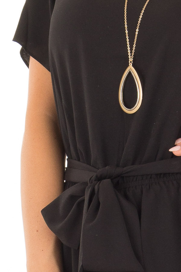 Black Double Layer Romper with Front Tie detail