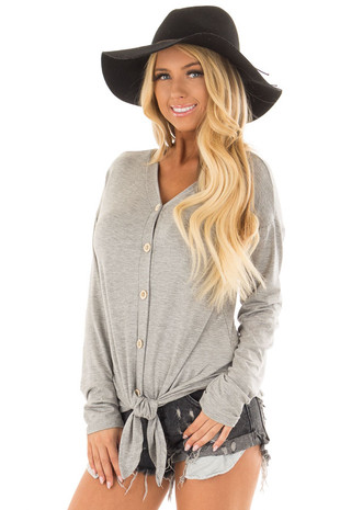 Heather Grey Long Sleeved Top with Front Tie Detail front close up