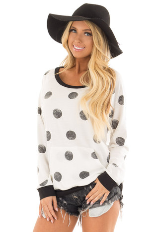 White Polka Dot Sweatshirt with Front Center Pocket front close up