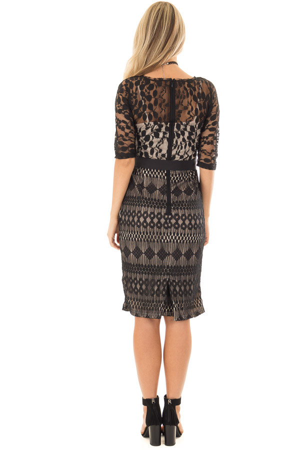 Black Sheer Lace Dress with Waist Tie back full body