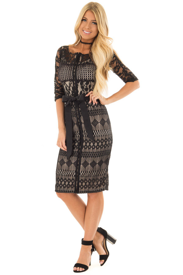 Black Sheer Lace Dress with Waist Tie front full body
