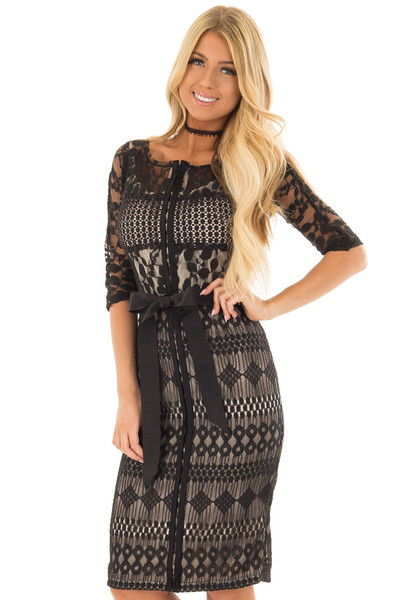 Black Sheer Lace Dress with Waist Tie front closeup