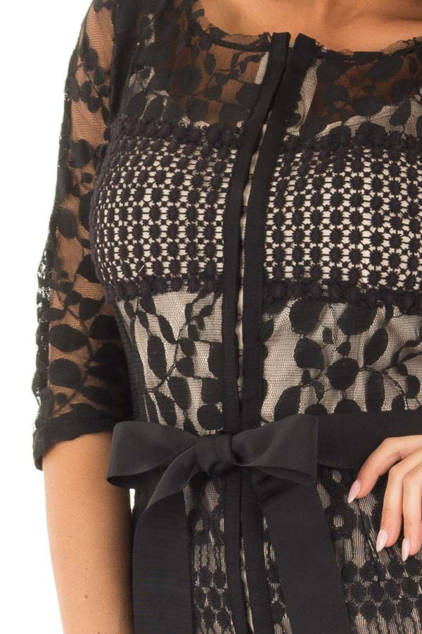 Black Sheer Lace Dress with Waist Tie front detail