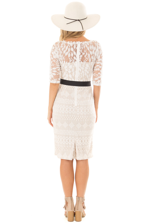 Ivory Sheer Lace Dress with Waist Tie back full body