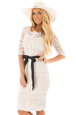 Ivory Sheer Lace Dress with Waist Tie front closeup