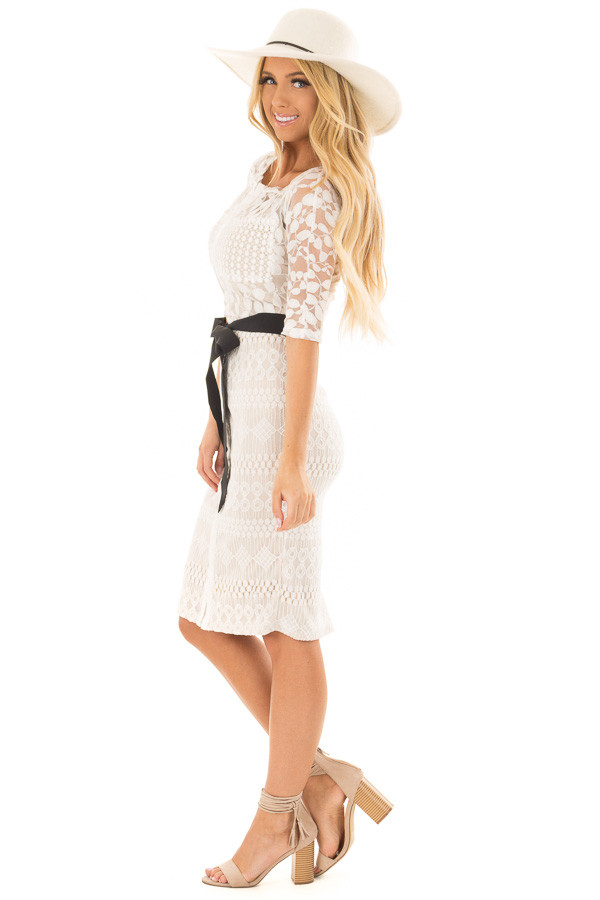 Ivory Sheer Lace Dress with Waist Tie side full body