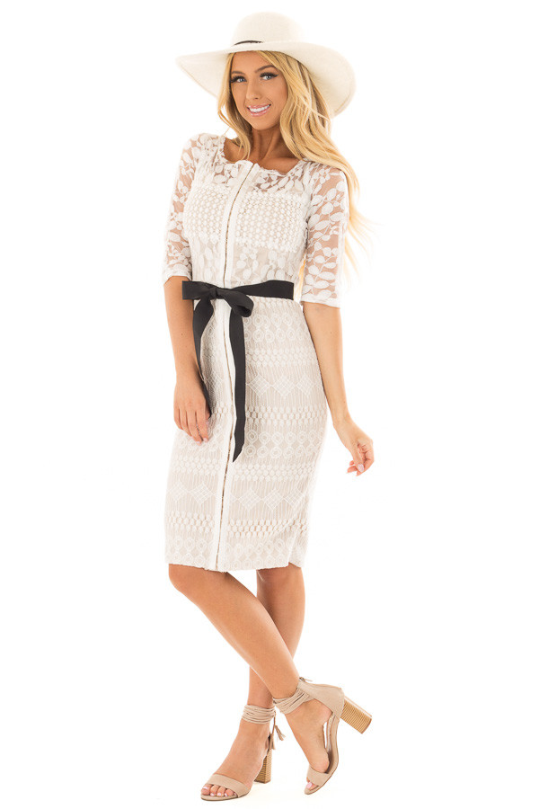Ivory Sheer Lace Dress with Waist Tie front full body