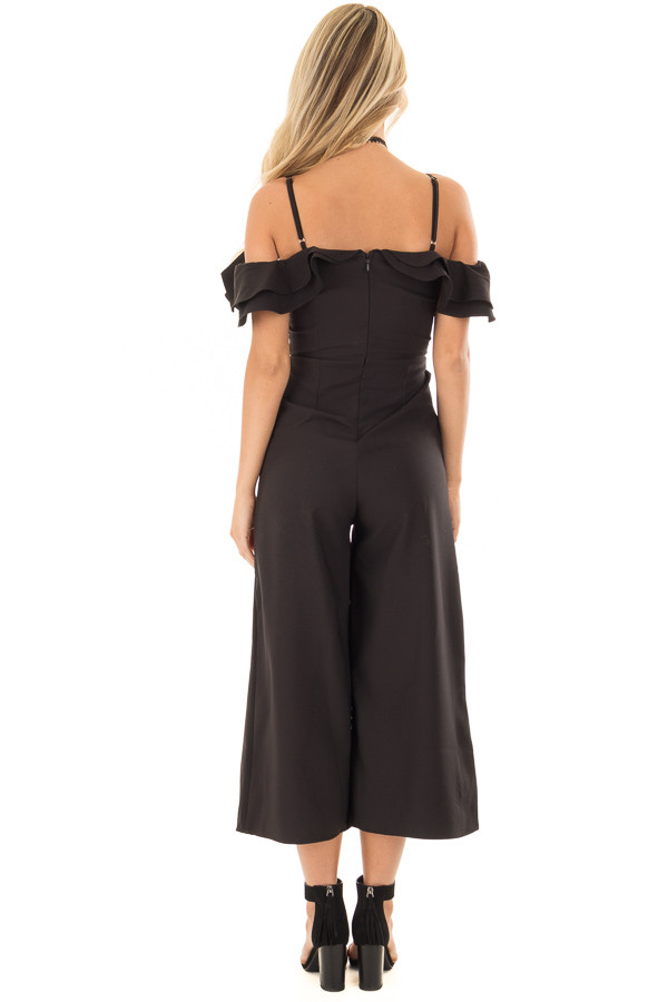 Black Ruffle Neckline Jumpsuit with Pockets back full body
