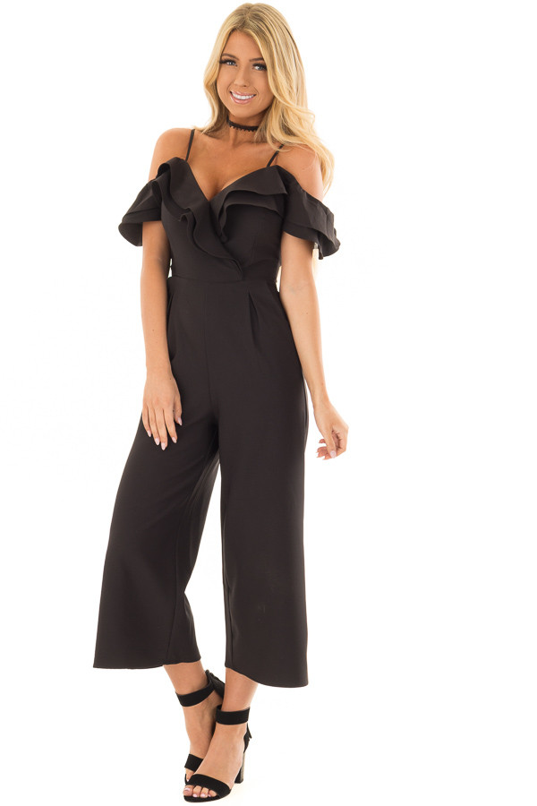 Black Ruffle Neckline Jumpsuit with Pockets front full body