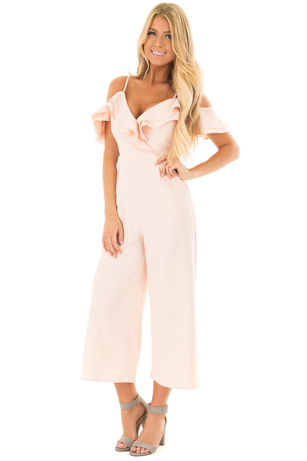 Light Pink Ruffle Neckline Jumpsuit with Pockets front full body