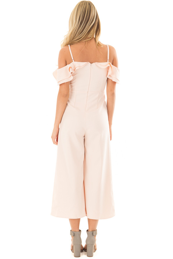 Light Pink Ruffle Neckline Jumpsuit with Pockets back full body