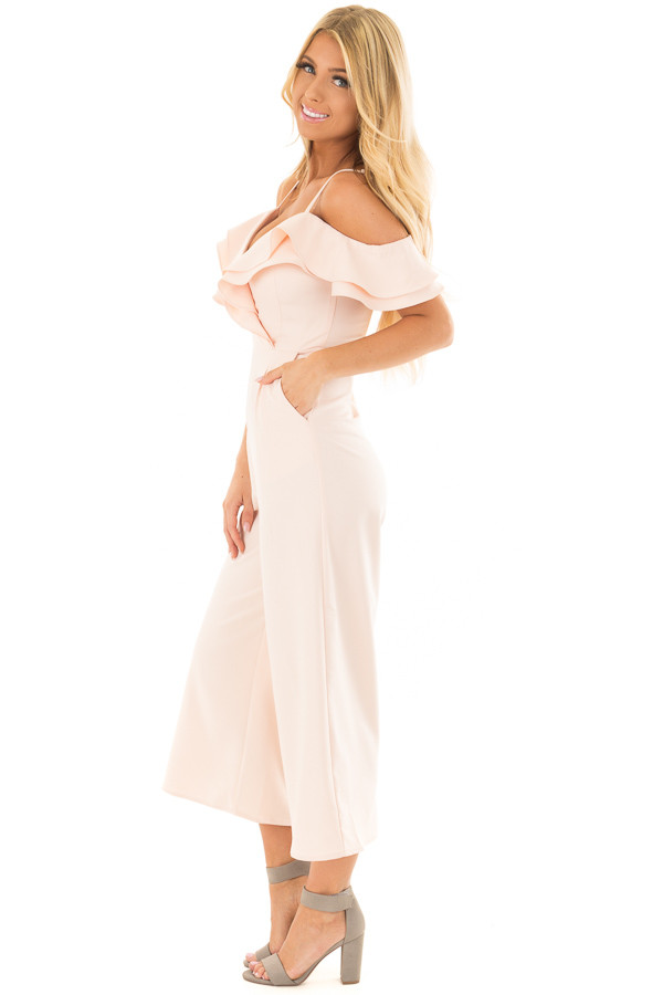 Light Pink Ruffle Neckline Jumpsuit with Pockets side full body