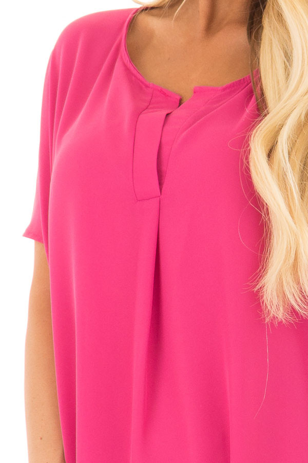 Fuchsia Chiffon Blouse with Loose Fit and V-Neck front detail
