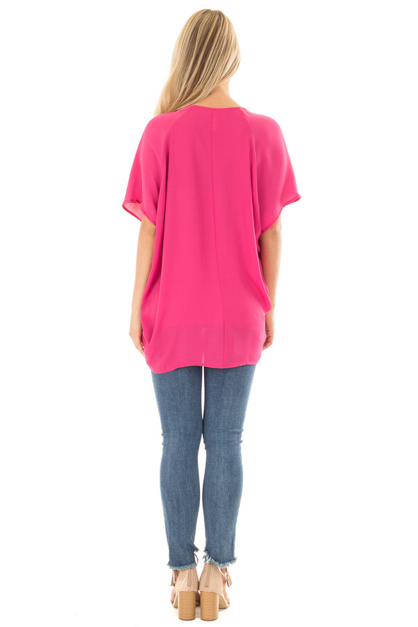Fuchsia Chiffon Blouse with Loose Fit and V-Neck back full body