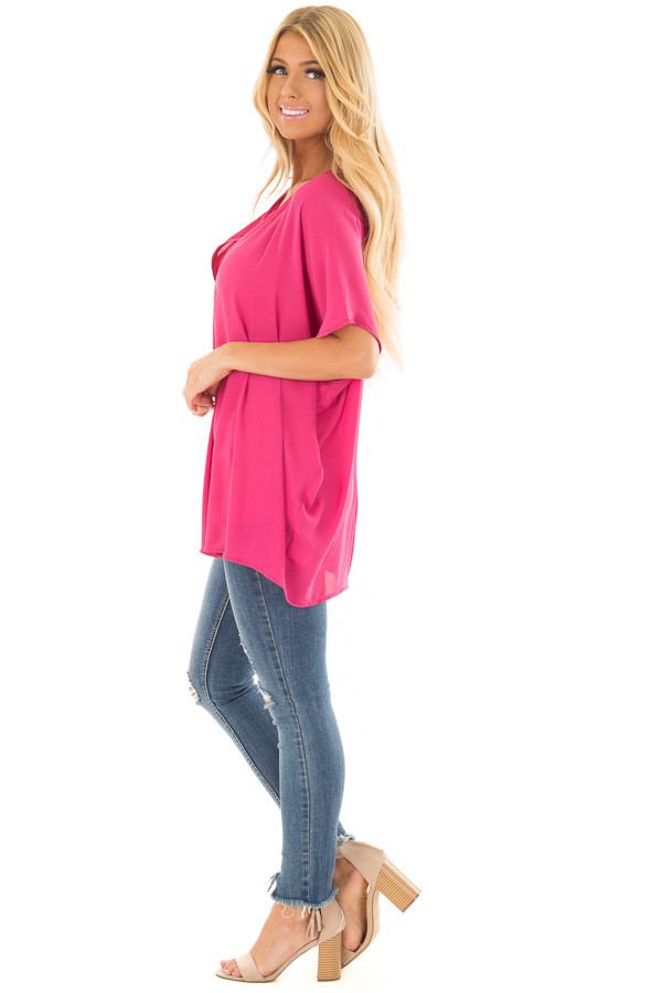 Fuchsia Chiffon Blouse with Loose Fit and V-Neck side full body
