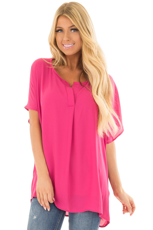Fuchsia Chiffon Blouse with Loose Fit and V-Neck front closeup