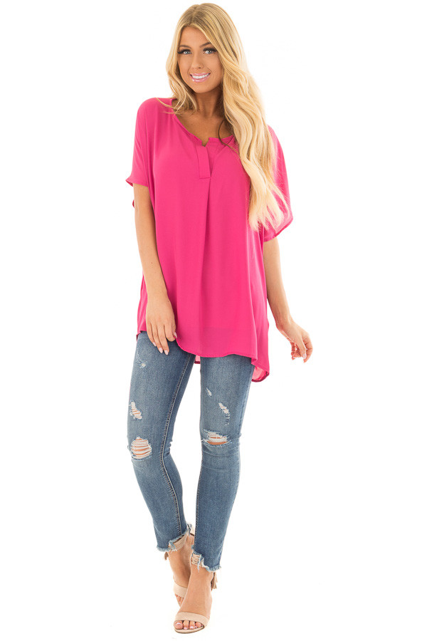 Fuchsia Chiffon Blouse with Loose Fit and V-Neck front full body