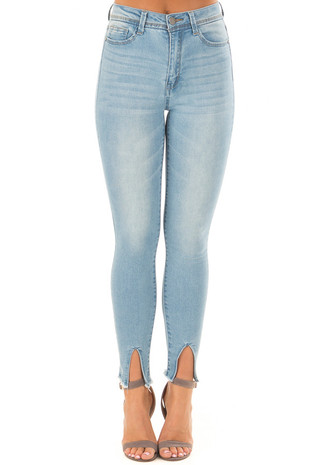 Light Wash High Waist Skinny Jeans with Hem Split Detail front view