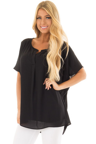 Black Chiffon Blouse with Loose Fit and V-Neck front closeup