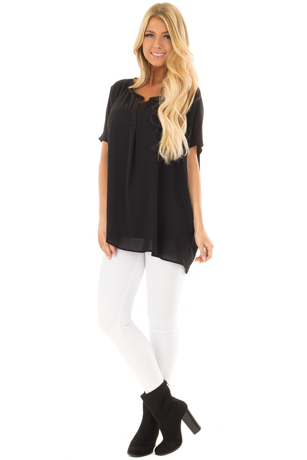 Black Chiffon Blouse with Loose Fit and V-Neck front full body