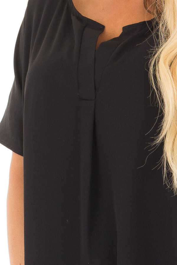 Black Chiffon Blouse with Loose Fit and V-Neck front detail