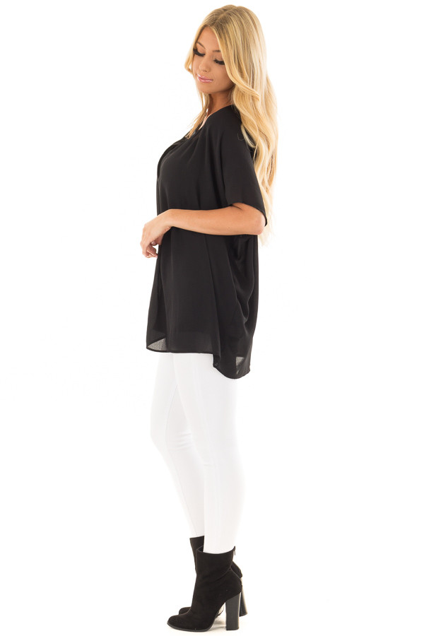 Black Chiffon Blouse with Loose Fit and V-Neck side full body