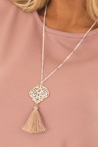 Silver Filagree Pendant Necklace with Small Tassel close