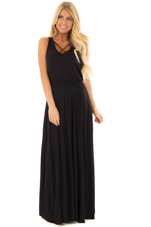 Black Maxi Dress with Crisscross V-Neck and Side Pockets front full body