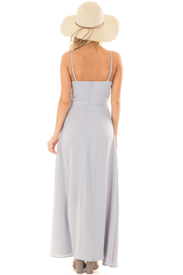 Dusty Sky Spaghetti Strap Maxi Dress with Front Tie back full body