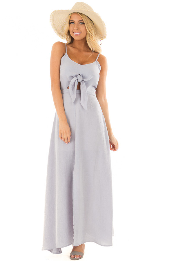 Dusty Sky Spaghetti Strap Maxi Dress with Front Tie front full body