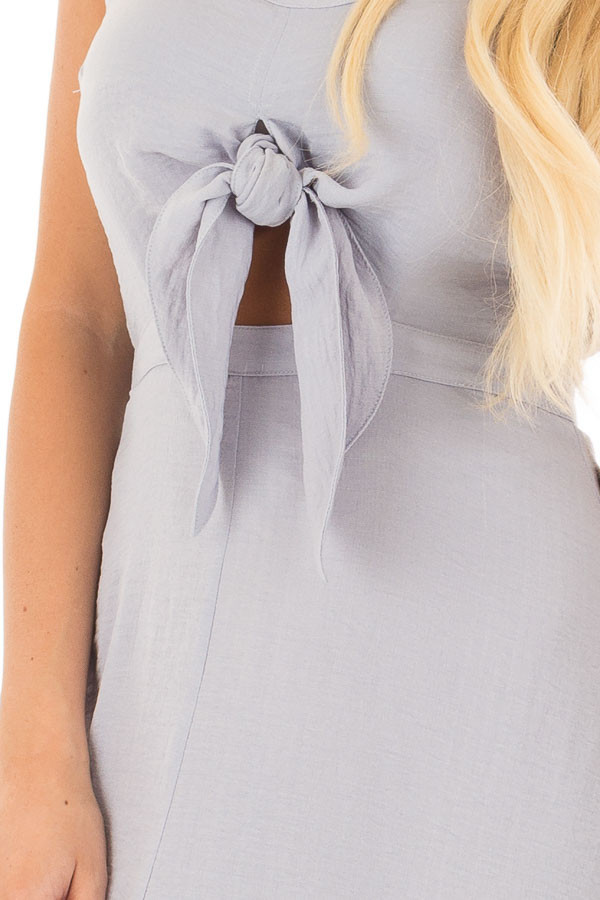 Dusty Sky Spaghetti Strap Maxi Dress with Front Tie front detail