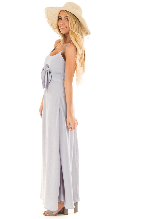 Dusty Sky Spaghetti Strap Maxi Dress with Front Tie side full body