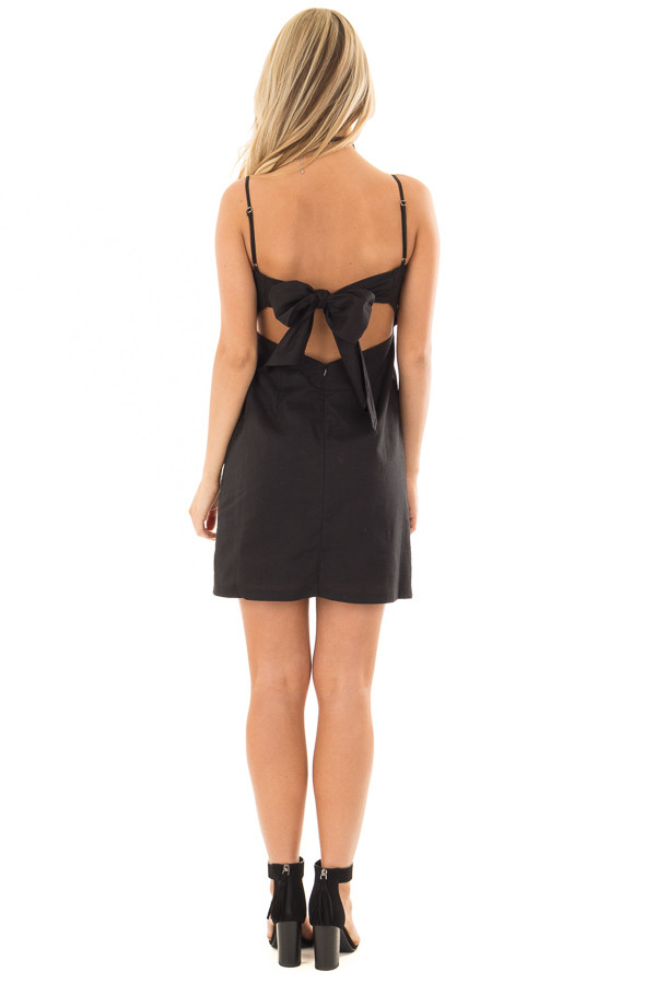 Black Dress with Back Tie Detail back full body