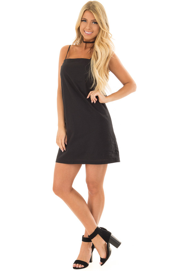 Black Dress with Back Tie Detail front full body