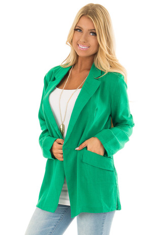 Kelly Green Oversized Blazer with Front Pockets front closeup