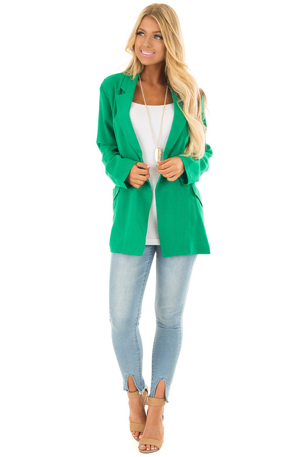 Kelly Green Oversized Blazer with Front Pockets front full body