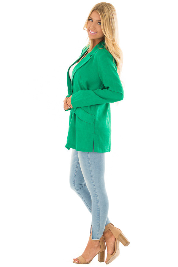 Kelly Green Oversized Blazer with Front Pockets side full body