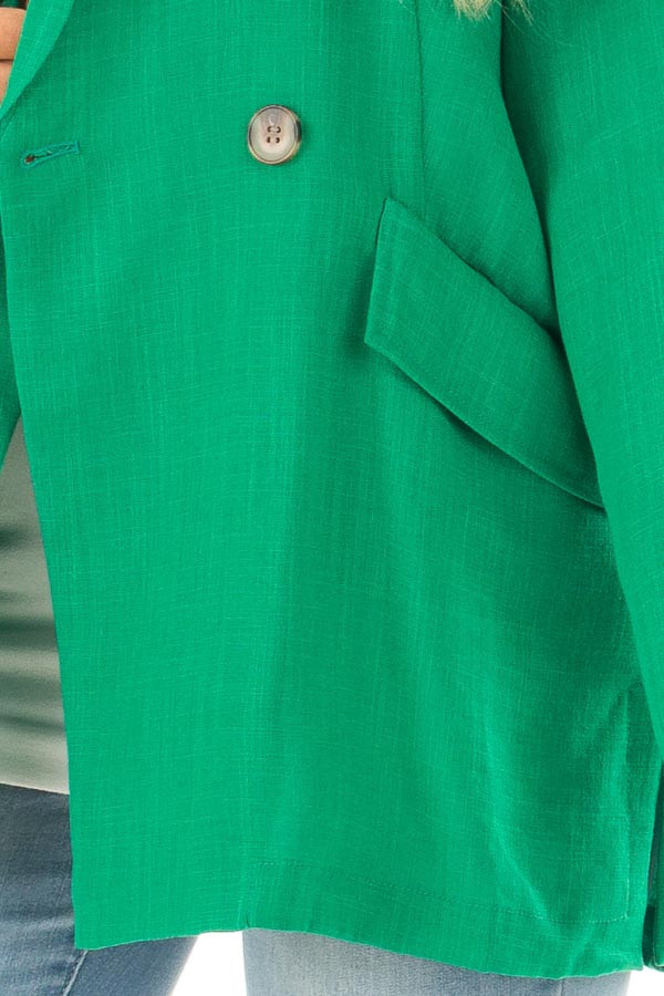 Kelly Green Oversized Blazer with Front Pockets front detail
