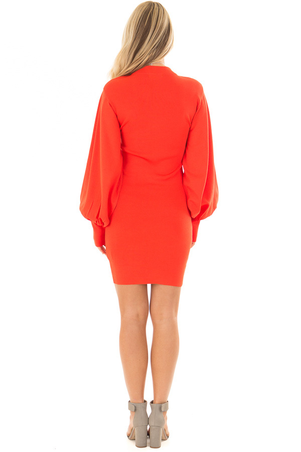 Coral Bodycon Dress with Bubble Sleeves back full body