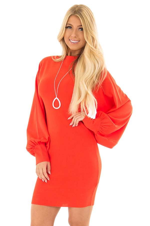 Coral Bodycon Dress with Bubble Sleeves front closeup