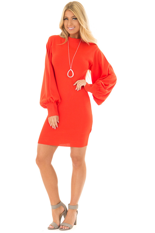 Coral Bodycon Dress with Bubble Sleeves front full body