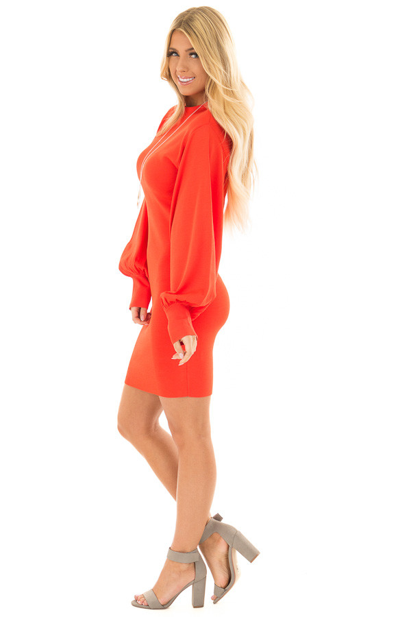 Coral Bodycon Dress with Bubble Sleeves side full body